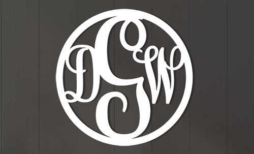 wood and metal monograms